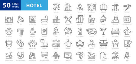 Hotel elements - thin line web icon set. Outline icons collection. Simple vector illustration