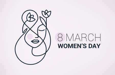 happy women's day holiday background with girl face