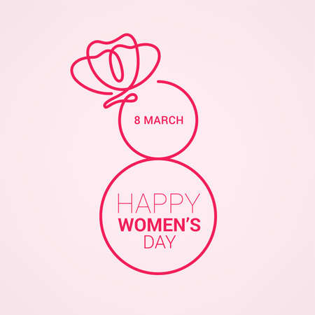 March 8 women's day design. Women's day vector concept design for international woman celebration with camellia flowers background