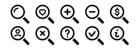 Magnifying glass icon set. Search icon.Vector magnifier or loupe sign.Magnifying glass instrument set icon, magnifying sign, glass, magnifier or loupe sign, search. Vector illustration 向量圖像