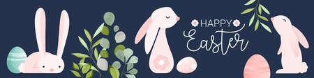 Happy easter cute folk rabbit egg doodle banner 向量圖像