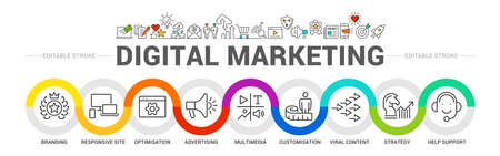 digital marketing banner web icon for business and social media marketing, content marketing, website, viral, seo, keyword, advertise and internet online marketing. Minimal vector infographic