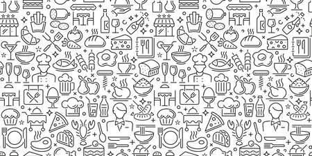 Seamless food pattern made from small illustrations 向量圖像