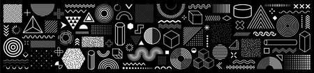 Set of 100 geometric shapes. Memphis design, retro elements for web, vintage, advertisement, commercial banner, poster, leaflet, billboard, sale. Collection trendy halftone vector geometric shapes