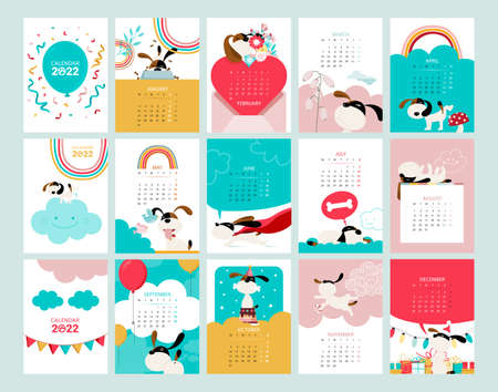 Calendar with Months and Dogs Vector Illustration Vecteurs