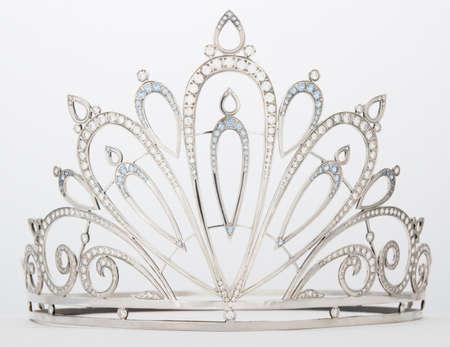 silver diadem with cubic zirconia gems photo
