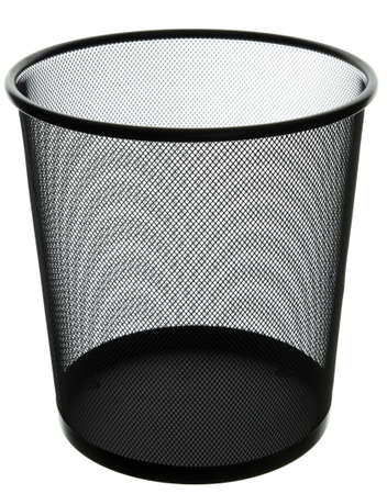 empty black mesh office bin, isolated on white photo