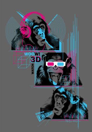 Drie apen kilimanjaro Stock Illustratie