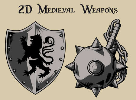 warlike: medieval weapons and shield Morgenstern Illustration