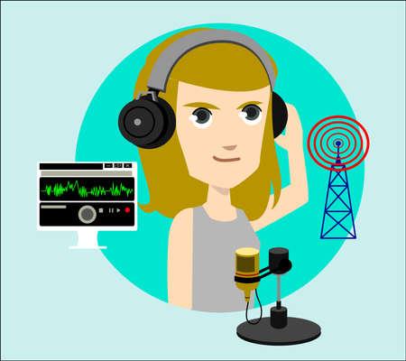 comunicacion oral: experto en comunicación inalámbrica y el carácter de la locución Vectores