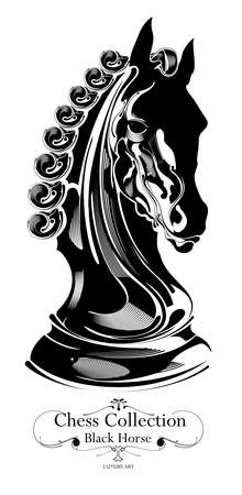 black chess horse, fine art, luxury art collection Vector