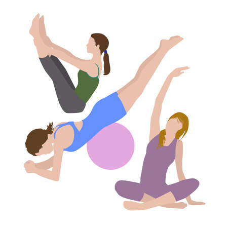 girls doing pilates, three girls doing exercise Vectores