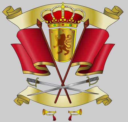 nobel: proteger reino heraldy, ornamento Vectores