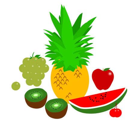 大食いする果物  イラスト・ベクター素材