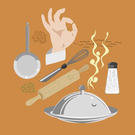 kneading: kitchen,  elements Illustration