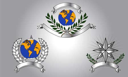 la union hace la fuerza: escudos mundo Vectores