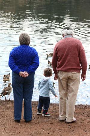 Granparents and child feeding the ducks photo