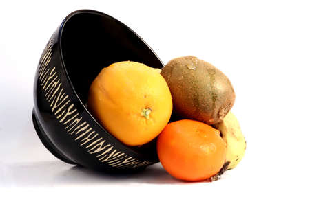 falling out: Fruit falling out of an African theme bowl