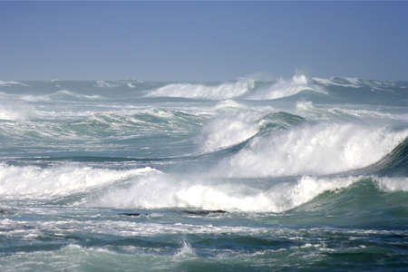 rough sea: Large ocean waves breaking on a stormy day Stock Photo