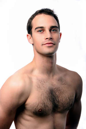 Handsome muscular young man with bare chest  Stock Photo