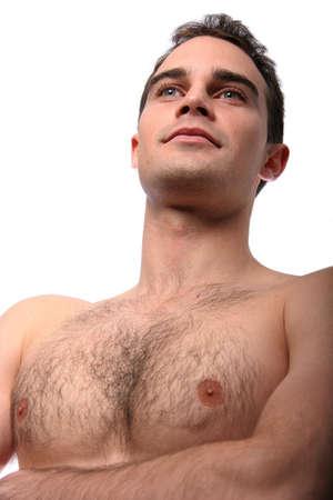 nackte brust: Handsome muskul�s junger Mann mit nackten Brust