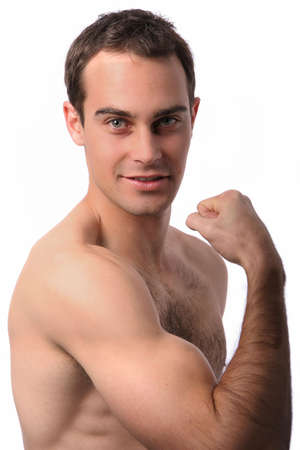Handsome muscular young man showing his bicep muscle photo