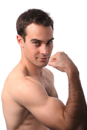 Handsome muscular young man showing his bicep muscle Stock Photo - 3345771