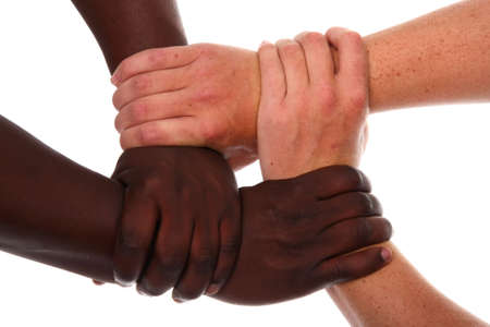 Black and white or caucasian hands clasped together Stock Photo