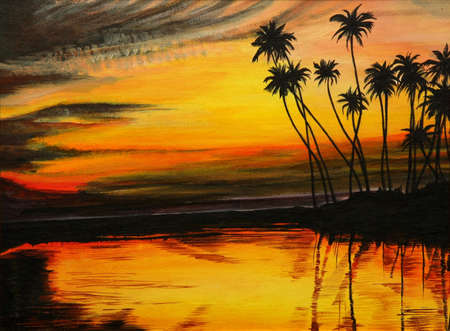 tress: Tropical island with palm tress at sunset - painting