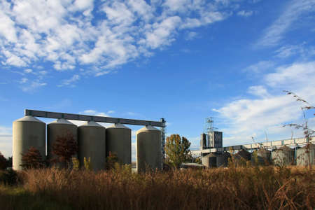 steel mill: Row of concrete grain storage silos in the country