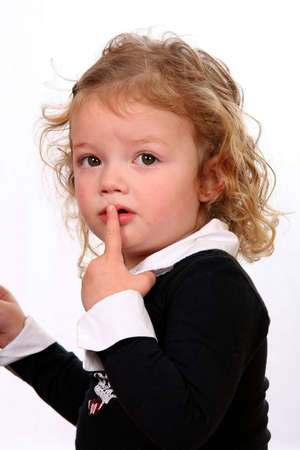 apprehensive: Cute little girl with an apprehensive look on her face Stock Photo