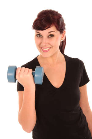 Pretty exercise woman with weight in hands photo