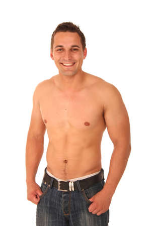 Handsome muscular young man without shirt and wearing jeans Stock Photo - 5445619
