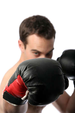 Abstract view of a boxer with his glove prominent in the foreground photo