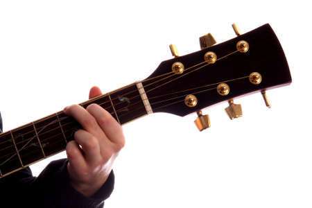 Acoustic Guitar With Person\'s Fingers Playing G Major Chord Stock ...