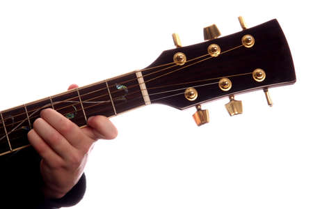 studio b: Acoustic guitar with persons fingers playing B Major chord