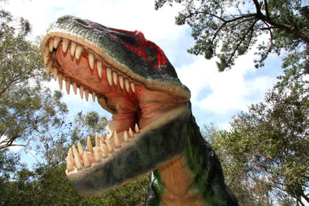 Scary dinosaur with it's mouth wide open showing enormous teeth Stock Photo - 5970683