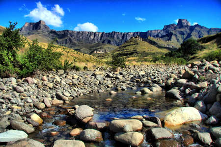 The beautiful Amphitheatre and stream at the Drakensberg Mountains in South Africa
