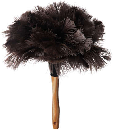 Black ostrich feather duster with wooden handle isolated on white background Reklamní fotografie