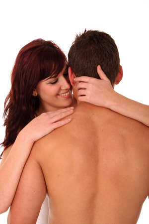 men   back: Beautiful young caucasian couple in love Stock Photo
