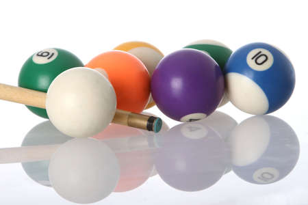 poolball: Pool balls and end of cue with reflection