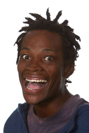 Excited young man with dreadlocks hairstyle and big smile