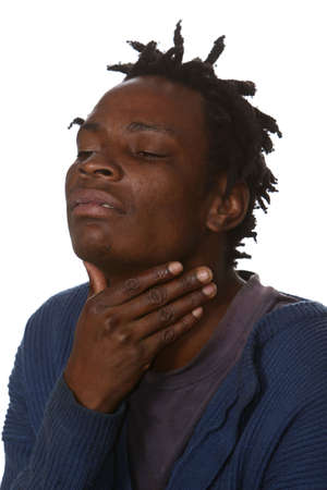 Poor Black African man with a sore throat Reklamní fotografie