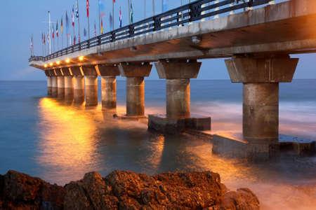 sea port: The landmark pier at Shark Rock in Port Elizabeth, South Africa