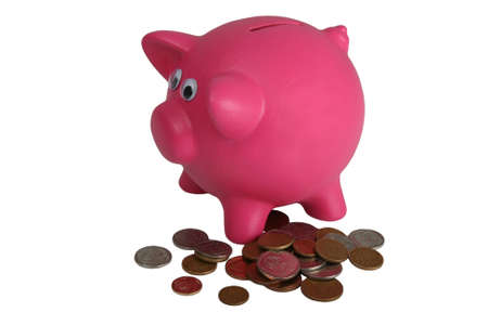 coppers: Pink piggy bank with a pile of money coins - isolated