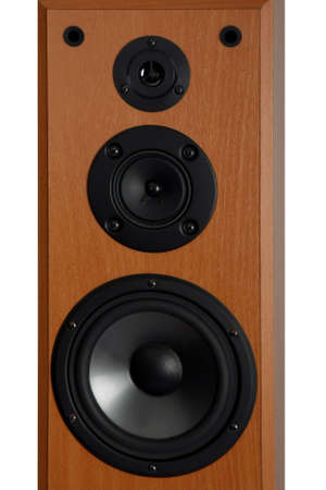 Three way audio speaker system in a wooden cabinet Stock Photo - 7547209
