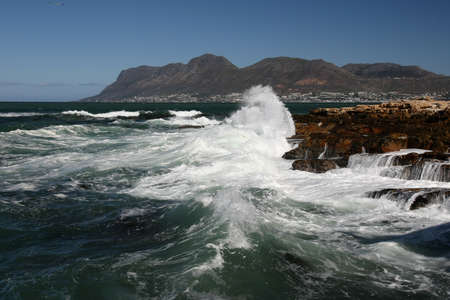 Stormy sea and waves on the South African coast in Cape Town photo