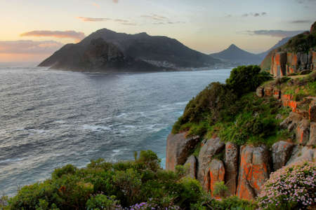 Coastal scene of Hout Bay in South Africa at sunset