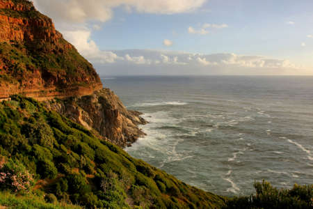 chapmans: Coastline and mountains at Chapmans Peak Drive in Cape Town, South Africa