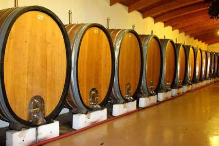 casks: Wine casks or barrels in a wine cellar
